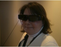 Gina wearing 3-D glasses