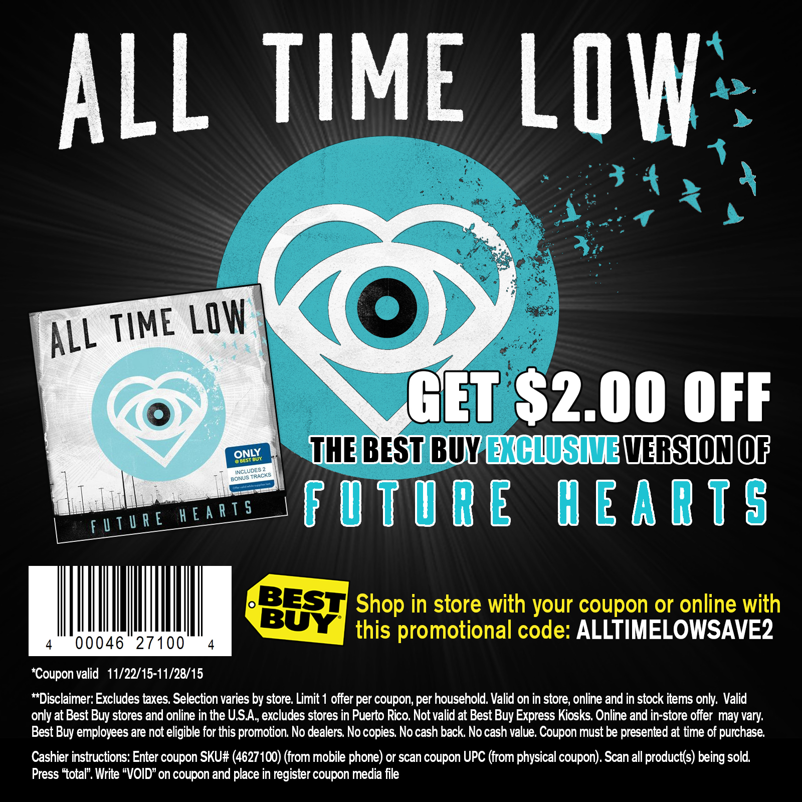 Add our exclusive customer appreciation promo/coupon code CHEAP to receive additional savings on All Time Low tickets. After adding the this promotional offer code, the savings will be shown on our secure checkout page. Find deals on All Time Low tickets at our reputable website.