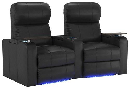 Octane Seating - Turbo XL700 2-Seat Curved Power Recline Home Theater Seating - Black